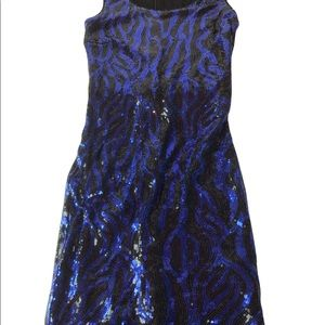 FOREVER 21 blue and black sequin sparkle glitter dress. Lined Small EUC